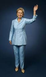 Wax figure of the first lady Hillary Clinton in the Museum of Madame Tussauds.